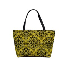 Damask1 Black Marble & Yellow Leather Shoulder Handbags