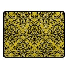 Damask1 Black Marble & Yellow Leather Fleece Blanket (small)