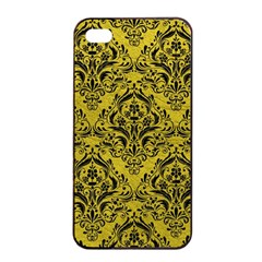 Damask1 Black Marble & Yellow Leather Apple Iphone 4/4s Seamless Case (black)