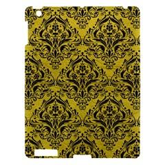 Damask1 Black Marble & Yellow Leather Apple Ipad 3/4 Hardshell Case