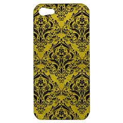 Damask1 Black Marble & Yellow Leather Apple Iphone 5 Hardshell Case