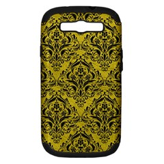 Damask1 Black Marble & Yellow Leather Samsung Galaxy S Iii Hardshell Case (pc+silicone)