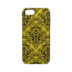 Damask1 Black Marble & Yellow Leather Apple Iphone 5 Classic Hardshell Case (pc+silicone)