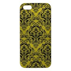 Damask1 Black Marble & Yellow Leather Apple Iphone 5 Premium Hardshell Case
