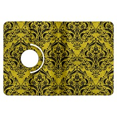 Damask1 Black Marble & Yellow Leather Kindle Fire Hdx Flip 360 Case