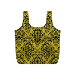 Damask1 Black Marble & Yellow Leather Full Print Recycle Bags (s)
