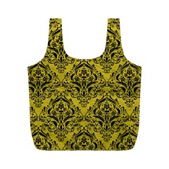 Damask1 Black Marble & Yellow Leather Full Print Recycle Bags (m)