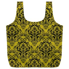Damask1 Black Marble & Yellow Leather Full Print Recycle Bags (l)