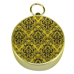 Damask1 Black Marble & Yellow Leather Gold Compasses
