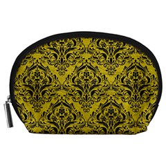 Damask1 Black Marble & Yellow Leather Accessory Pouches (large)