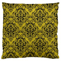 Damask1 Black Marble & Yellow Leather Large Flano Cushion Case (two Sides)