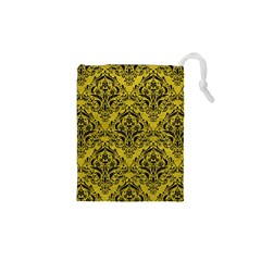 Damask1 Black Marble & Yellow Leather Drawstring Pouches (xs)