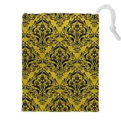Damask1 Black Marble & Yellow Leather Drawstring Pouches (xxl)