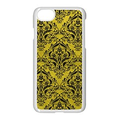 Damask1 Black Marble & Yellow Leather Apple Iphone 8 Seamless Case (white)