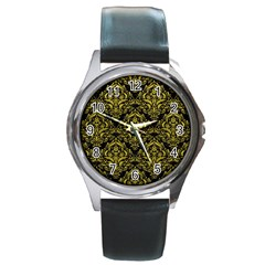 Damask1 Black Marble & Yellow Leather (r) Round Metal Watch