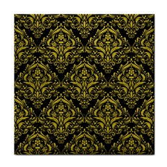 Damask1 Black Marble & Yellow Leather (r) Tile Coasters
