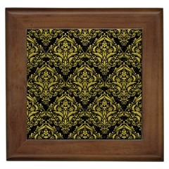 Damask1 Black Marble & Yellow Leather (r) Framed Tiles