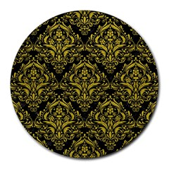 Damask1 Black Marble & Yellow Leather (r) Round Mousepads