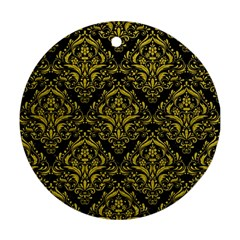Damask1 Black Marble & Yellow Leather (r) Ornament (round)