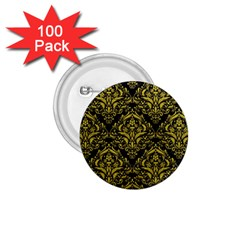 Damask1 Black Marble & Yellow Leather (r) 1 75  Buttons (100 Pack)