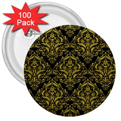 Damask1 Black Marble & Yellow Leather (r) 3  Buttons (100 Pack)