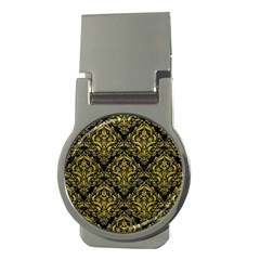 Damask1 Black Marble & Yellow Leather (r) Money Clips (round)
