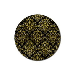 Damask1 Black Marble & Yellow Leather (r) Rubber Round Coaster (4 Pack)