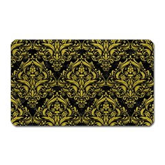 Damask1 Black Marble & Yellow Leather (r) Magnet (rectangular)