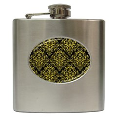 Damask1 Black Marble & Yellow Leather (r) Hip Flask (6 Oz)