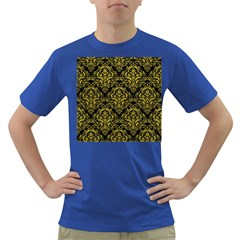 Damask1 Black Marble & Yellow Leather (r) Dark T Shirt