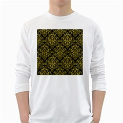Damask1 Black Marble & Yellow Leather (r) White Long Sleeve T Shirts