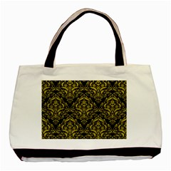 Damask1 Black Marble & Yellow Leather (r) Basic Tote Bag