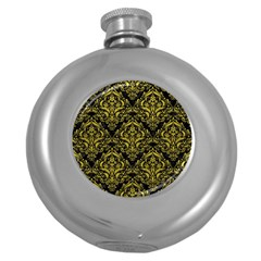Damask1 Black Marble & Yellow Leather (r) Round Hip Flask (5 Oz)