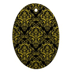 Damask1 Black Marble & Yellow Leather (r) Oval Ornament (two Sides)