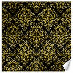 Damask1 Black Marble & Yellow Leather (r) Canvas 20  X 20