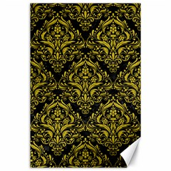 Damask1 Black Marble & Yellow Leather (r) Canvas 24  X 36