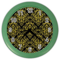 Damask1 Black Marble & Yellow Leather (r) Color Wall Clocks