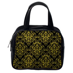 Damask1 Black Marble & Yellow Leather (r) Classic Handbags (one Side)