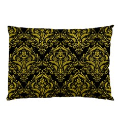 Damask1 Black Marble & Yellow Leather (r) Pillow Case