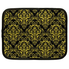 Damask1 Black Marble & Yellow Leather (r) Netbook Case (xxl)