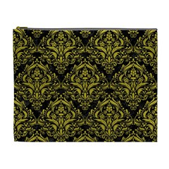Damask1 Black Marble & Yellow Leather (r) Cosmetic Bag (xl)