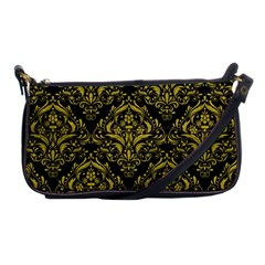 Damask1 Black Marble & Yellow Leather (r) Shoulder Clutch Bags