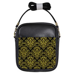 Damask1 Black Marble & Yellow Leather (r) Girls Sling Bags