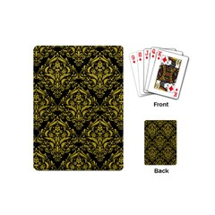 Damask1 Black Marble & Yellow Leather (r) Playing Cards (mini)