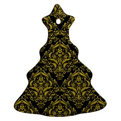 Damask1 Black Marble & Yellow Leather (r) Ornament (christmas Tree)