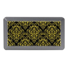 Damask1 Black Marble & Yellow Leather (r) Memory Card Reader (mini)
