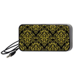 Damask1 Black Marble & Yellow Leather (r) Portable Speaker