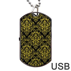 Damask1 Black Marble & Yellow Leather (r) Dog Tag Usb Flash (two Sides)