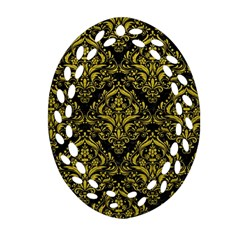 Damask1 Black Marble & Yellow Leather (r) Oval Filigree Ornament (two Sides)