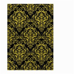 Damask1 Black Marble & Yellow Leather (r) Small Garden Flag (two Sides)